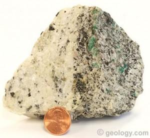 Emeralds in pegmatite