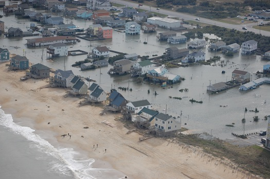flooding along north carolina east coast from hurricane storm surge